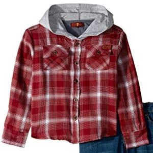 7 For All Mankind Twill Plaid Hooded Sport Shirt